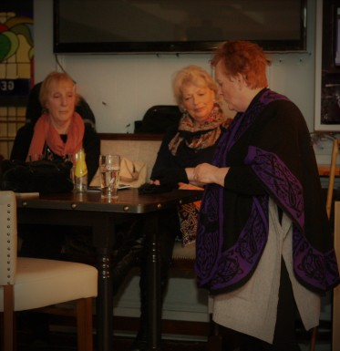 BAfeb188 Lorraine O'Brien Storyteller getting into charactor of 'Peg Meg'